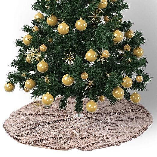 ANMOQI Falda del Árbol De Navidad Blanco 48 Pulgadas De Piel ...