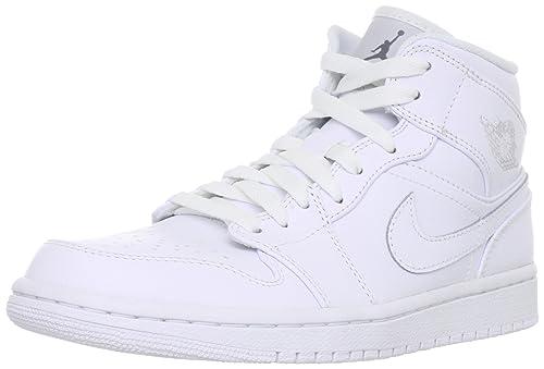 online store 74223 b39a0 Nike Air Jordan 1 Mid 554724 - 100 - Zapatos de Baloncesto para Hombre,  Blanco Blanco Gris Cool  Amazon.es  Ropa y accesorios