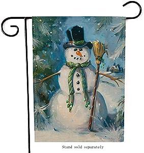 Artofy Merry Christmas Garden Flag, Decorative Xmas Outdoor Flag Sign with Snowman, Rustic Burlap House Yard Garden Flag Winter Outside Decoration Seasonal Home Decor Flag 12 x 18