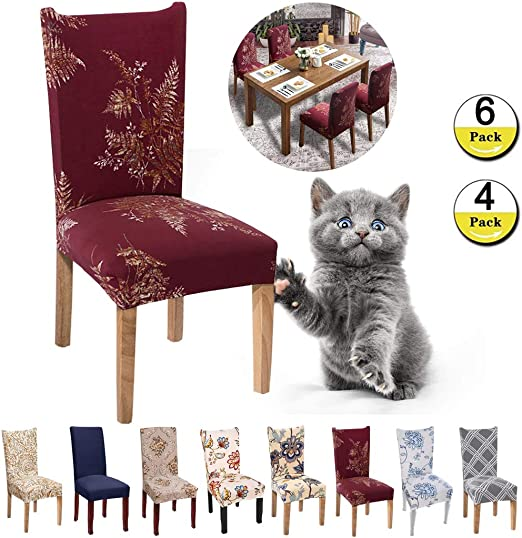 H-Flower 2, 1 Pcs JunYito Stretch Dining Chair Covers Slipcovers Top Chair Protector for Dining Room Hotel Ceremony Banquet Wedding Party D/écor