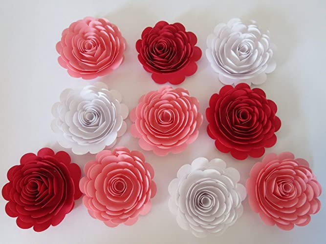 Amazon 10 Red 3 Inch White And Pink Paper Flowers Set