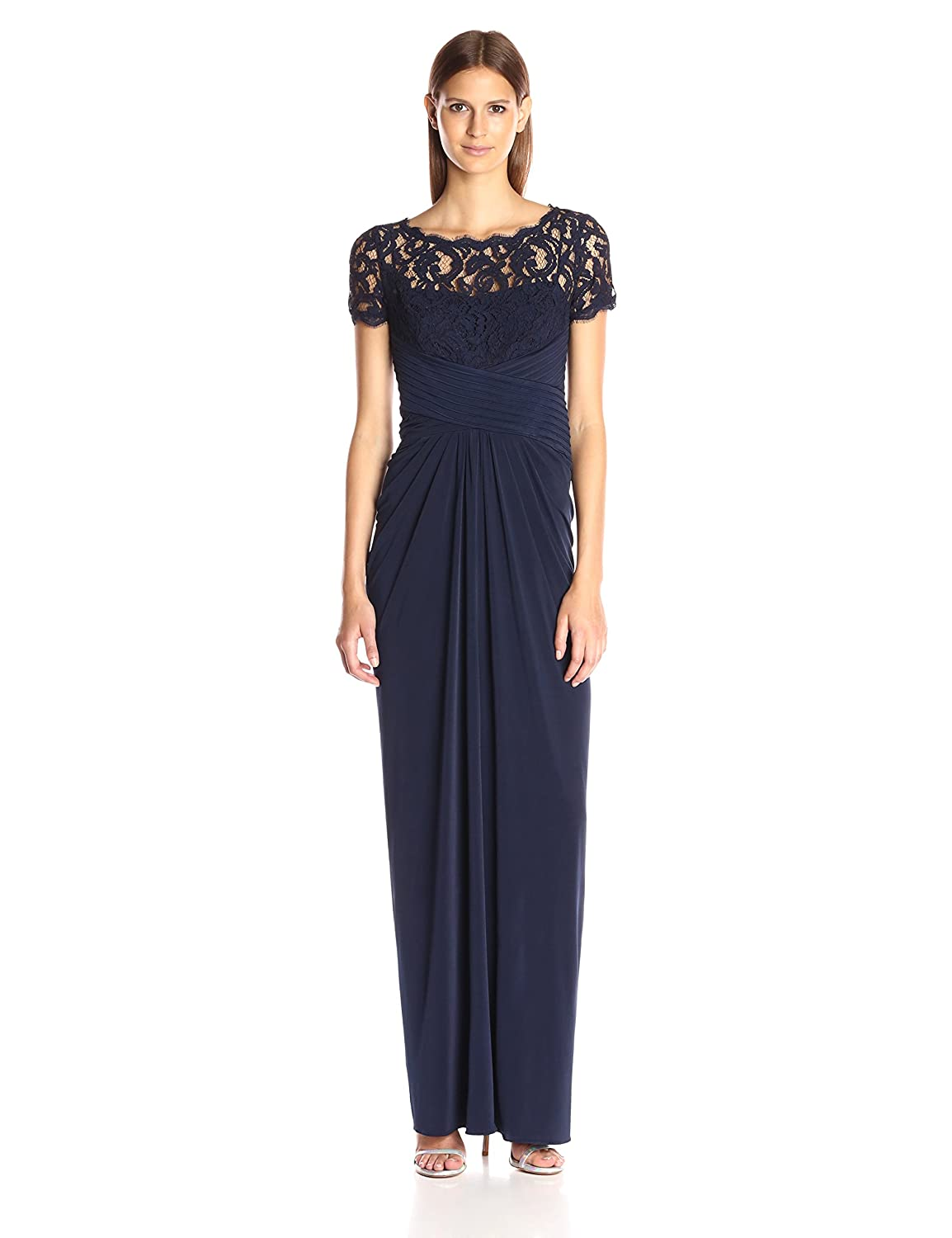 4348472cb5261 Top1  Adrianna Papell Women s 3 4 Sleeve Gown with Lace Bodice and Jersey  Draped Skirt. Wholesale ...