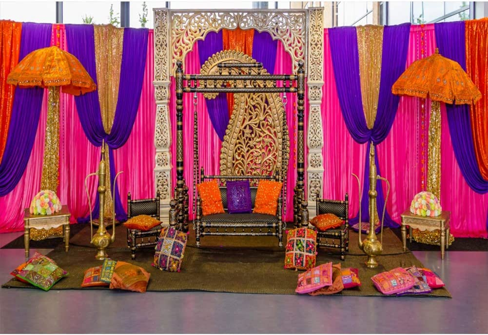 CSFOTO 8x6ft Wedding Backdrop Indian Wedding Ceremony Background for Photography Bridal Shower Decor Birthday Party Reception Banner Baby Shower Photo Wallpaper