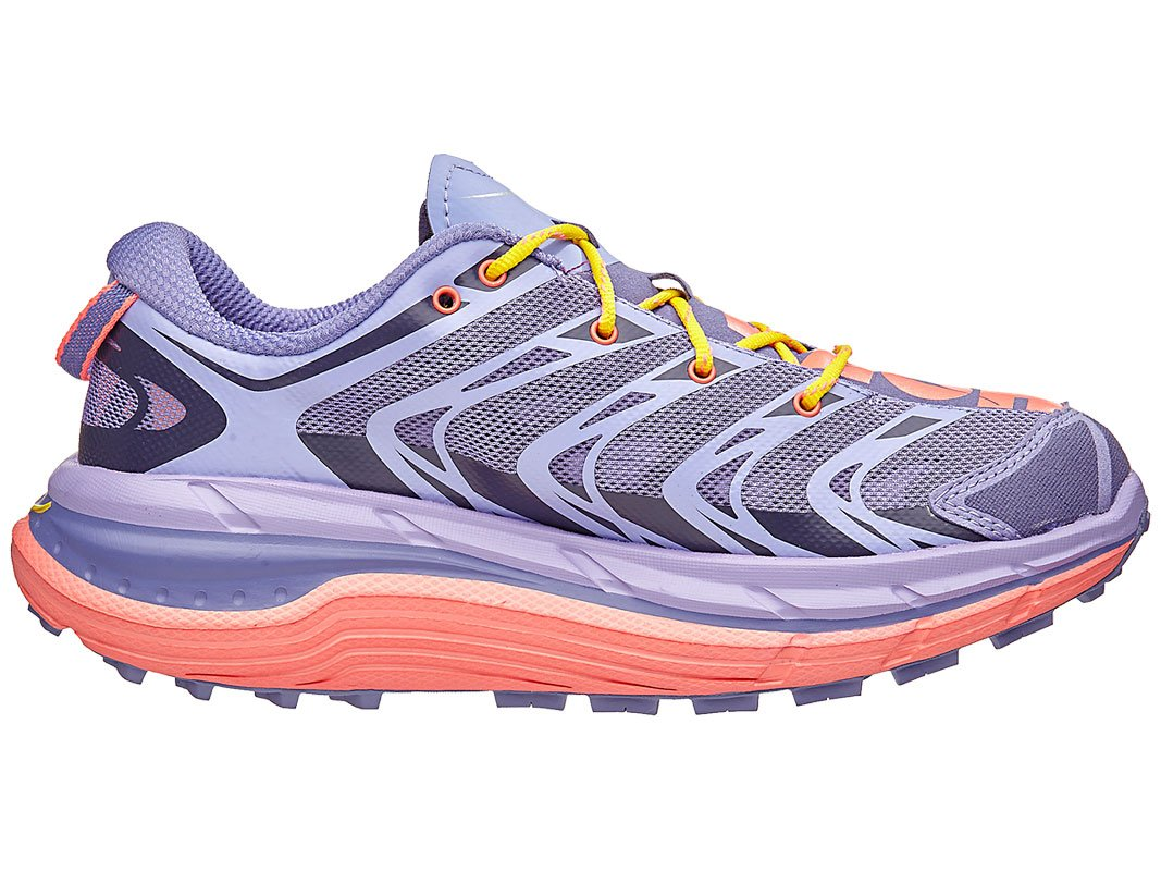 Corsican Blue//Neon Coral Hoka One One Mujer Speedgoat Trail Running Shoe 5.5