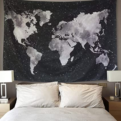 Amazon bleum cade starry world map tapestry black white bleum cade starry world map tapestry black white abstract painting wall hanging home decor for gumiabroncs Images