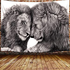 "Black and White Lion Tapestry for Couples, African Wild Animals Tapestry Wall Hanging for Bedroom, Hippie Beach Blanket College Dorm Home Decor (71"" W X 60"" H)"