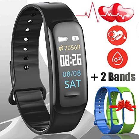 Smart Watch with Heart Rate Monitor[2 Free Bands], IP68 Waterproof Smartwatch Activity Tracker Watches, Swimming Running Sports Fitness Watch Bands ...