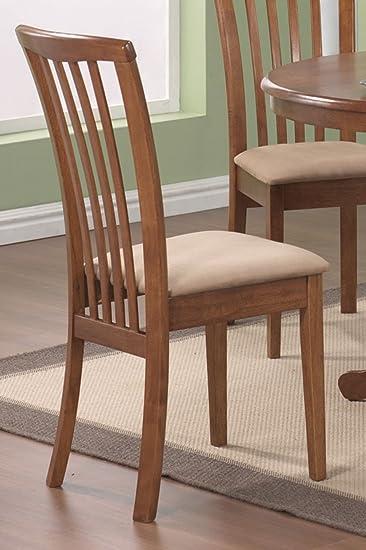 set of 2 dining chairs microfiber fabric dark oak finish - Fabric Dining Chairs
