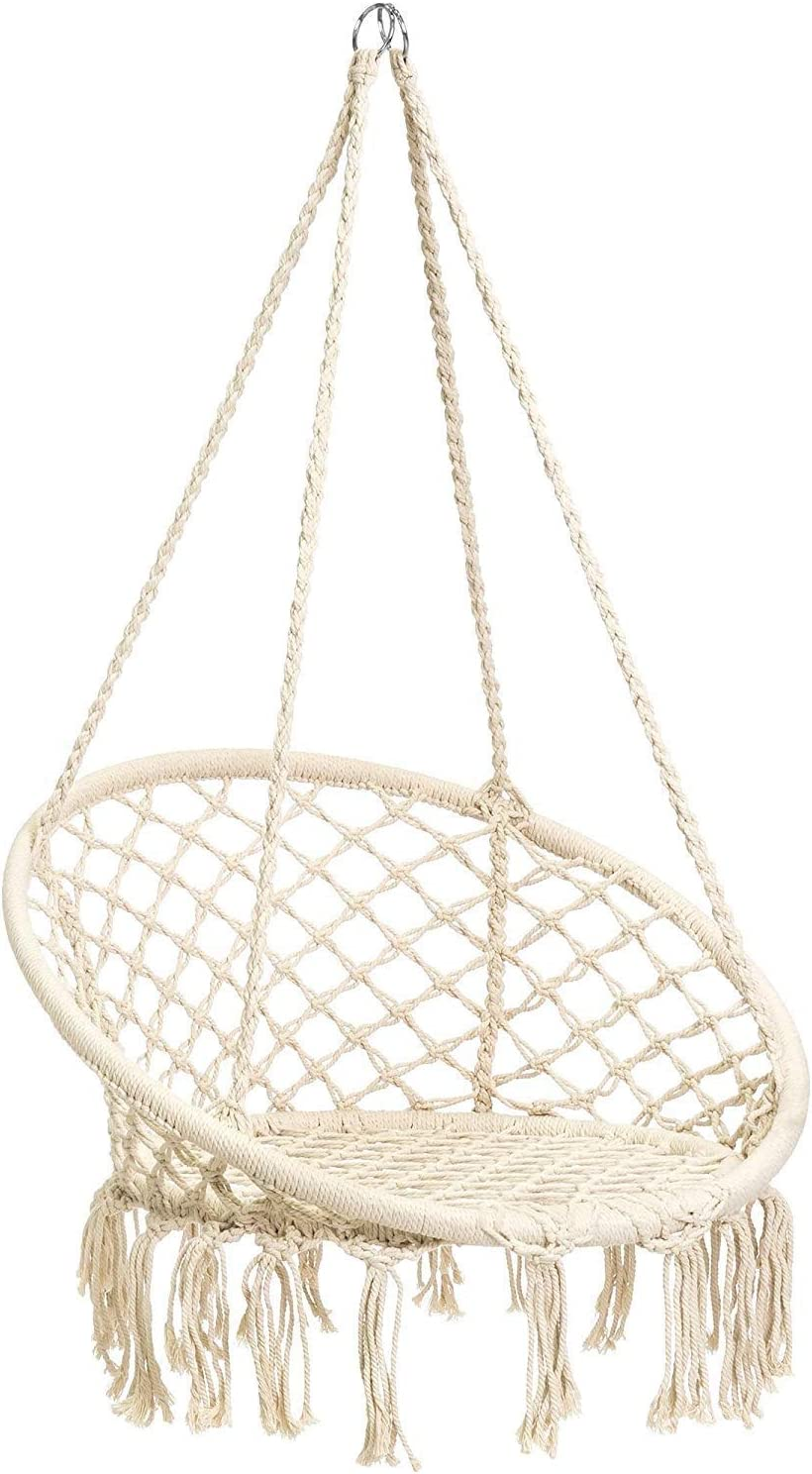 Amazon Com Cctro Hammock Chair Macrame Swing Boho Style Rattan Chair Hanging Macrame Hammock Swing Chairs For Indoor Outdoor Home Patio Porch Yard Garden Deck 265 Pound Capacity C Beige Garden