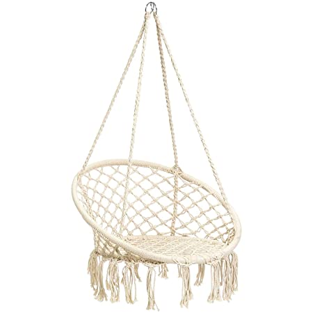 CCTRO Hammock Chair Macrame Swing,Boho Style Rattan Chair Hanging Macrame Hammock Swing Chairs for Indoor Outdoor Home Patio Porch Yard Garden Deck,265 Pound Capacity C Beige