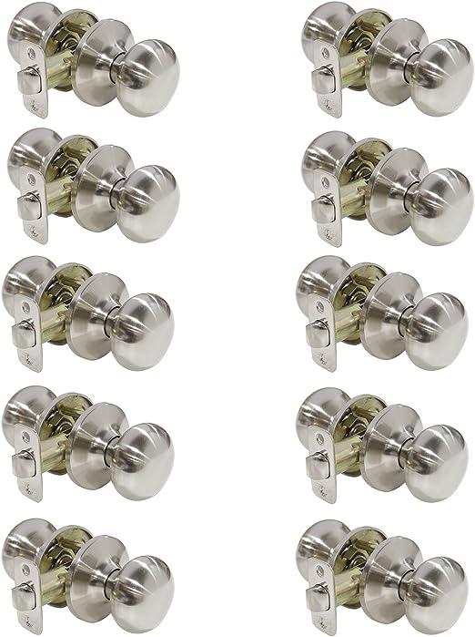 10 Satin Nickel Passage Door Knobs Box of 10 Door Knob Sets