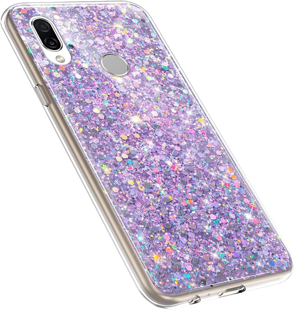 Herbests Compatible with Huawei Honor Play Glitter Case Girl Women Bling Glitter Sparkle Crystal Diamond Rhinestone Crystal Clear Silicone TPU Bumper Case Protective Phone Case,Gold