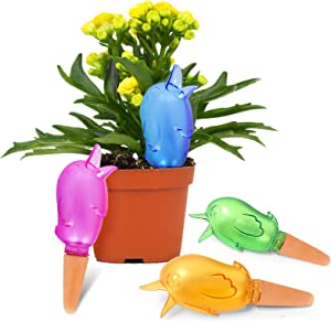 Pricetail Self Watering Spike Planter Drip Irrigation Watering Spikes Moist Roots for Plant Healthier Self Watering Plant Automatic Dripper Watering Bird Reservoir 4 Packs