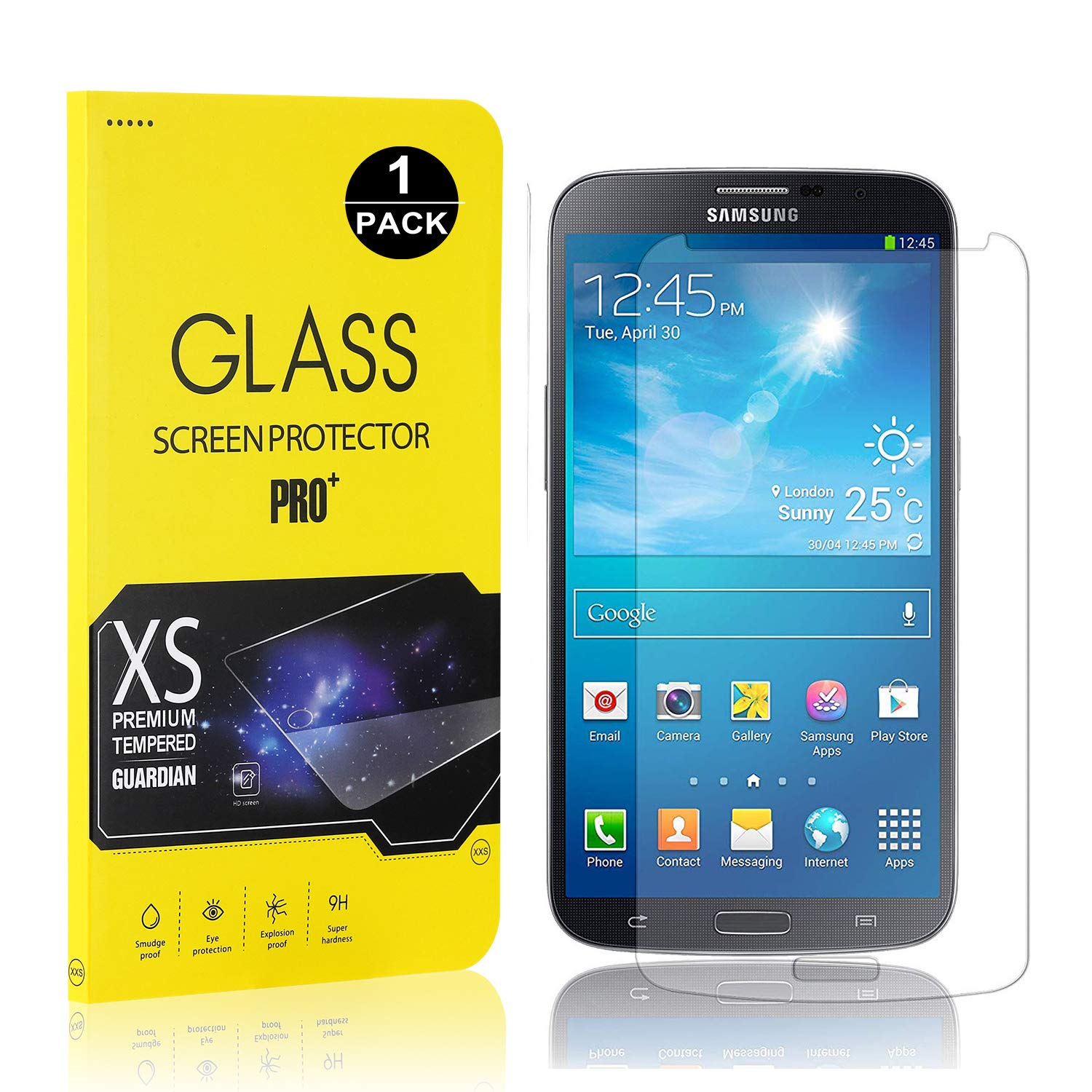 Galaxy S4 Screen Protector Film, UNEXTATI® Tempered Glass Screen Protector, HD Clear Screen Protector for Samsung Galaxy S4 (1 PACK)