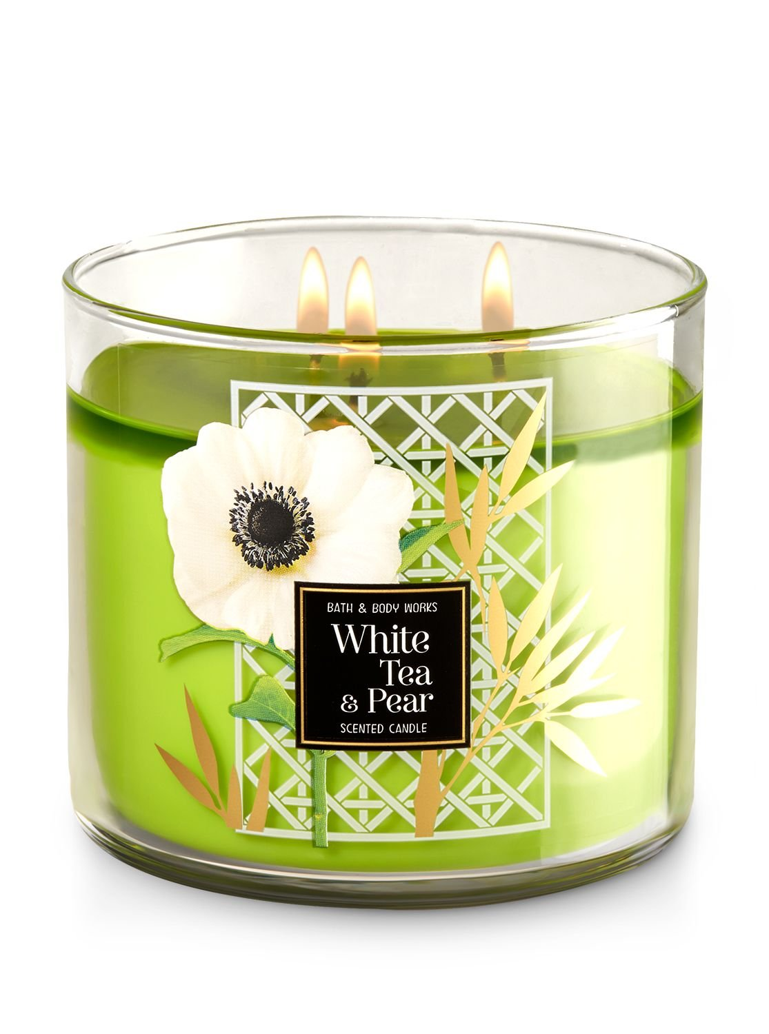 Bath & Body Works WHITE TEA & PEAR 3- wick candle Sweet White Tea, Barlette Pear, Sparkling Bergamont burns approximately 25-45 hours
