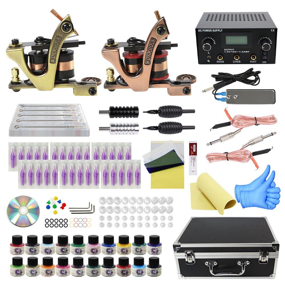 Wormhole Tattoo Complete Tattoo Kit with Case Tattoo Power Supply Kit 20 Tattoo Inks 30 Tattoo Needles 2 Pro Tattoo Machine Kit Tattoo Supplies Tattoo Kit for Beginners TK1000022 Ltd