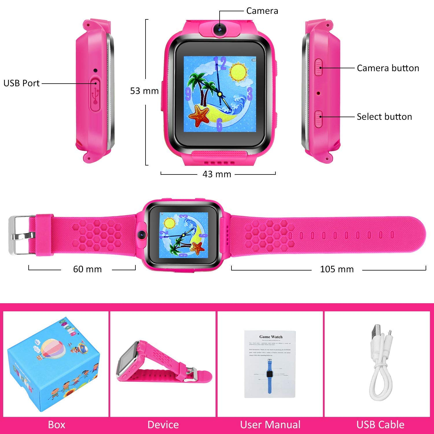 ZOPPRI Kids Game smartwatch Touch Screen Kinds of Games Kids Watch Theme Calendar Stopwatch Alarm Clock Photo Timer Multi-Function Watch Toy Gift for 3-12 Years Old boy Girl Birthday Gift (Pink) by ZOPPRI (Image #7)