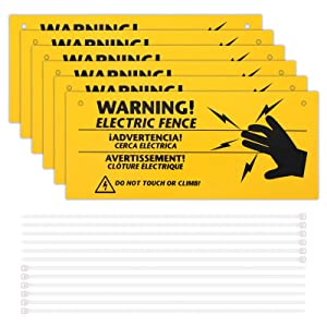 6 Pieces Electric Fence Warning Signs with 12 Pieces Zip Ties 10 x 4 Inch Yellow Caution Electric Signs, Plastic Fence Safe Caution Warning Sign for Farm Home Electric Safety Distance
