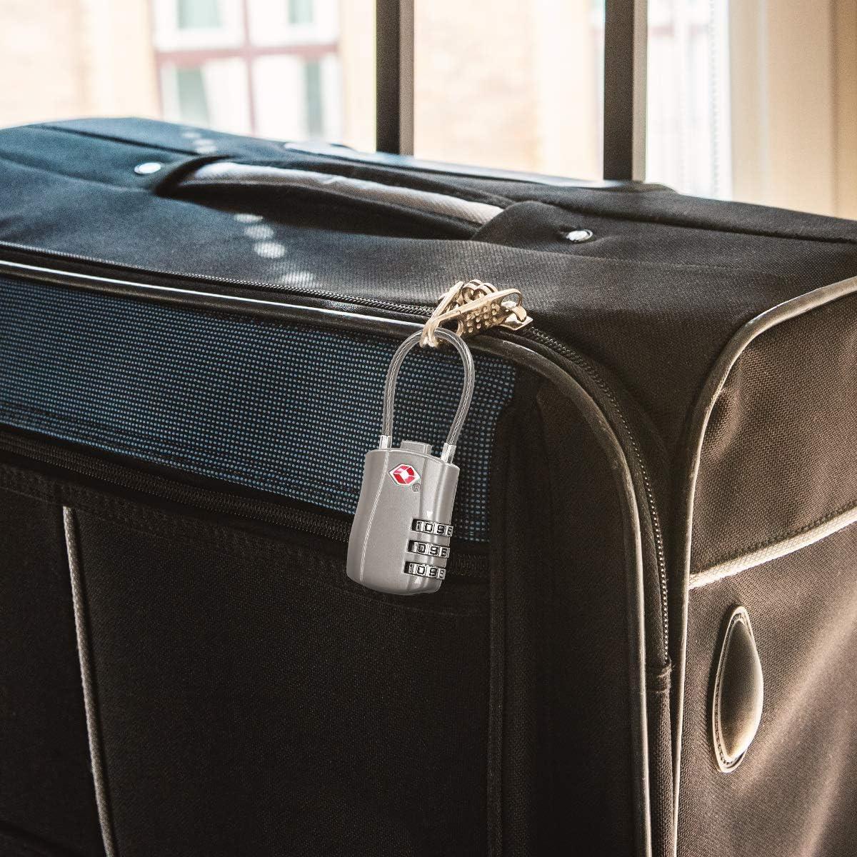 kwmobile 2er Set TSA Schloss mit Zahlencode Zahlenschloss USA Reise Gep/äckschloss in Silber 2X Kofferschloss Reiseschloss f/ür Koffer Rucksack