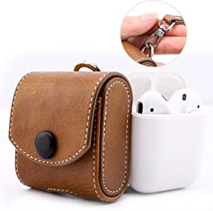 MoKo Case Fit AirPods 1/AirPods 2, Magnetic Snap Closure Protective Cover Carrying Pouch Pocket, with Holding Strap, for Apple AirPods 1 & AirPods 2 Charging Case - Brown