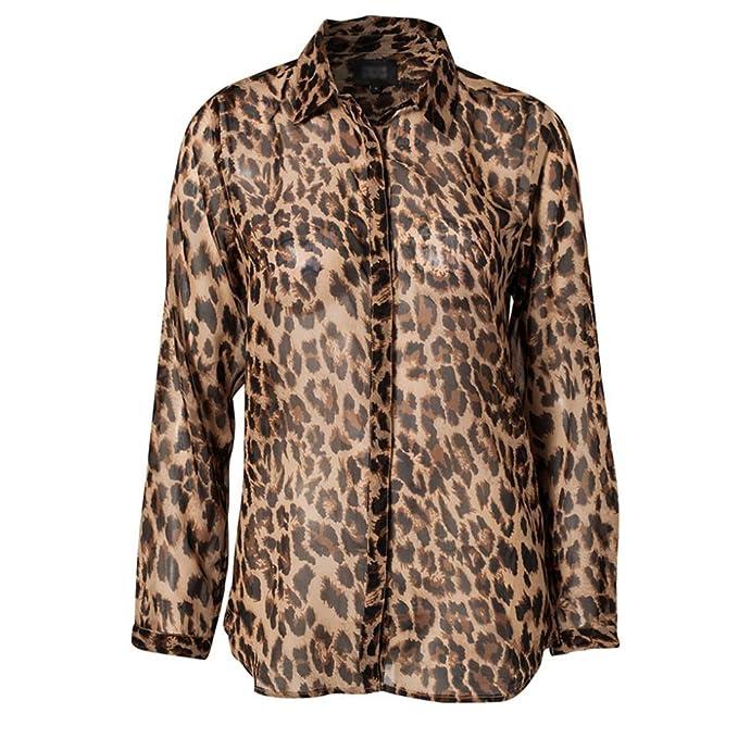 LOBZON - Camisas - Animal Print - Clásico - para mujer multicolor multicolor Small