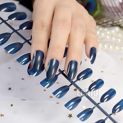 Brillante diseño de almendras para uñas postizas con puntas de caramelo, color azul oscuro y