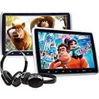 """2020 Car Portable DVD Player, 10.1"""" Car DVD Player with 2 Headphones, Support Same/Different Video Playing/AV Out & in…"""