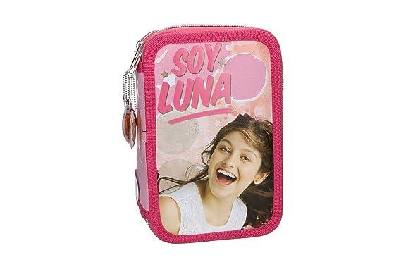 Estuche Lápiz caso de la escuela SOY LUNA triple rosa 3 zip ...