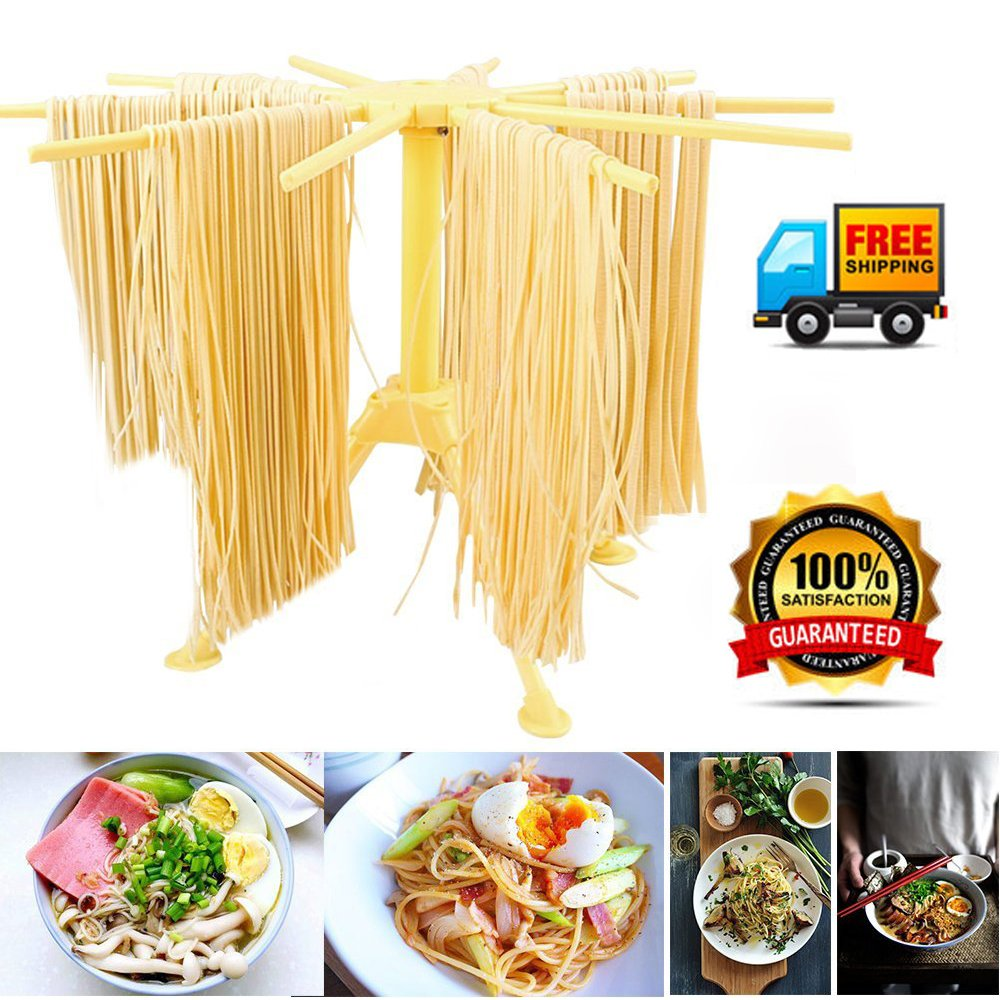 Pasta Drying Rack with 10 Bar Handles,Collapsible Spaghetti Dryer Rack Stand Plastic Noodles Hanging Drying Holder Rack for Kitchen Pasta Maker Aid Tool Bomach