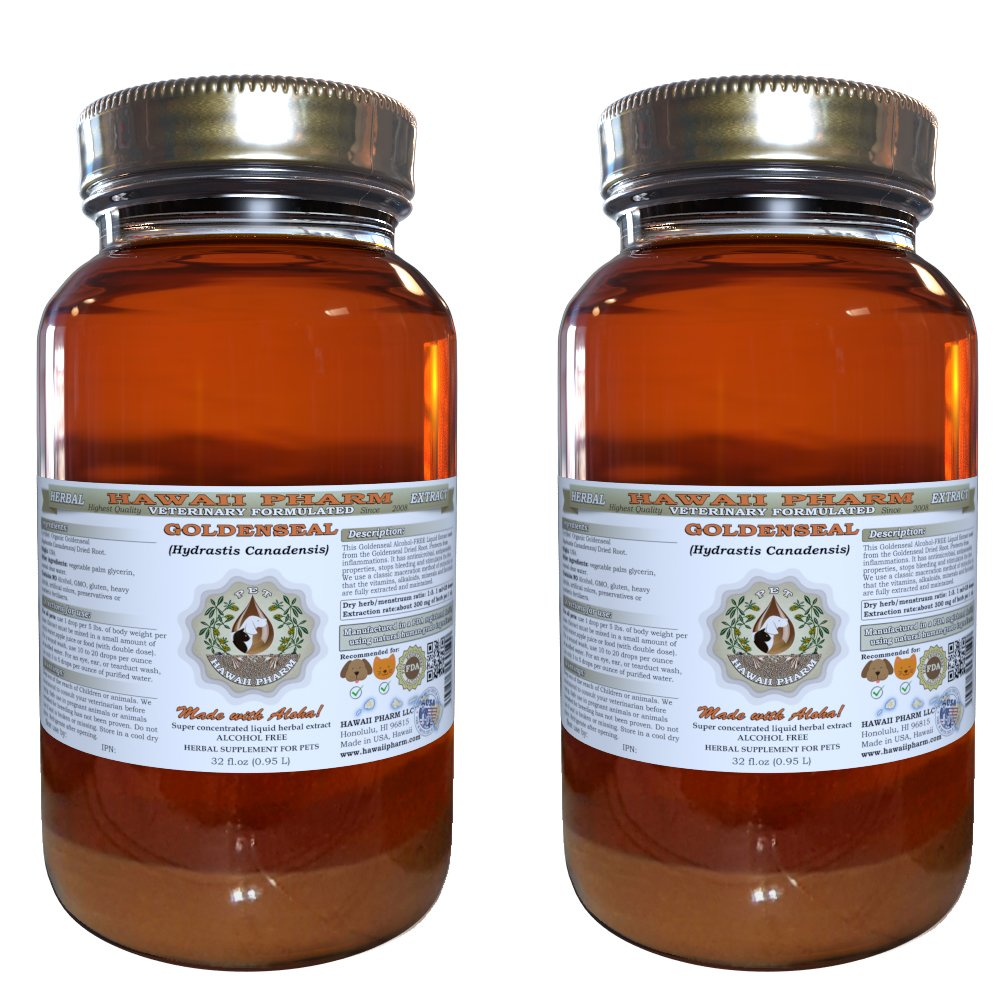 Goldenseal (Hydrastis Canadensis) Organic Dried Root VETERINARY Natural Alcohol-FREE Liquid Extract, Pet Herbal Supplement 2x32 oz by HawaiiPharm
