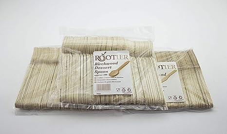 Cubertería desechable de madera, 300 unidades, contiene 100 tenedores de madera, 100 cucharas
