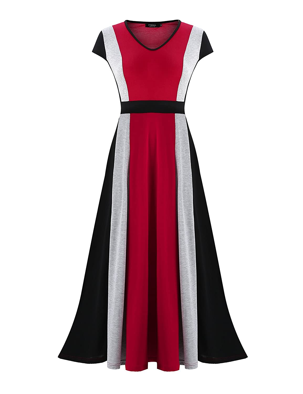 Multicoloured 2 FISOUL Women's Sleeveless V Neck Patchwork Maxi Dresses Casual Long Aline Loose Dresses