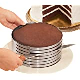 """MarxHousehold Adjustable 9"""" to 12"""" Stainless Steel Layer Cake Slicer Kit Mousse Mould Slicing Cake"""