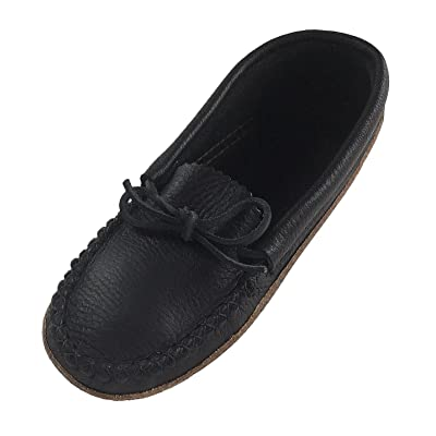 Bastien Industries Women's Earthing Grounding Black Natural Moosehide Leather Moccasins | Slippers