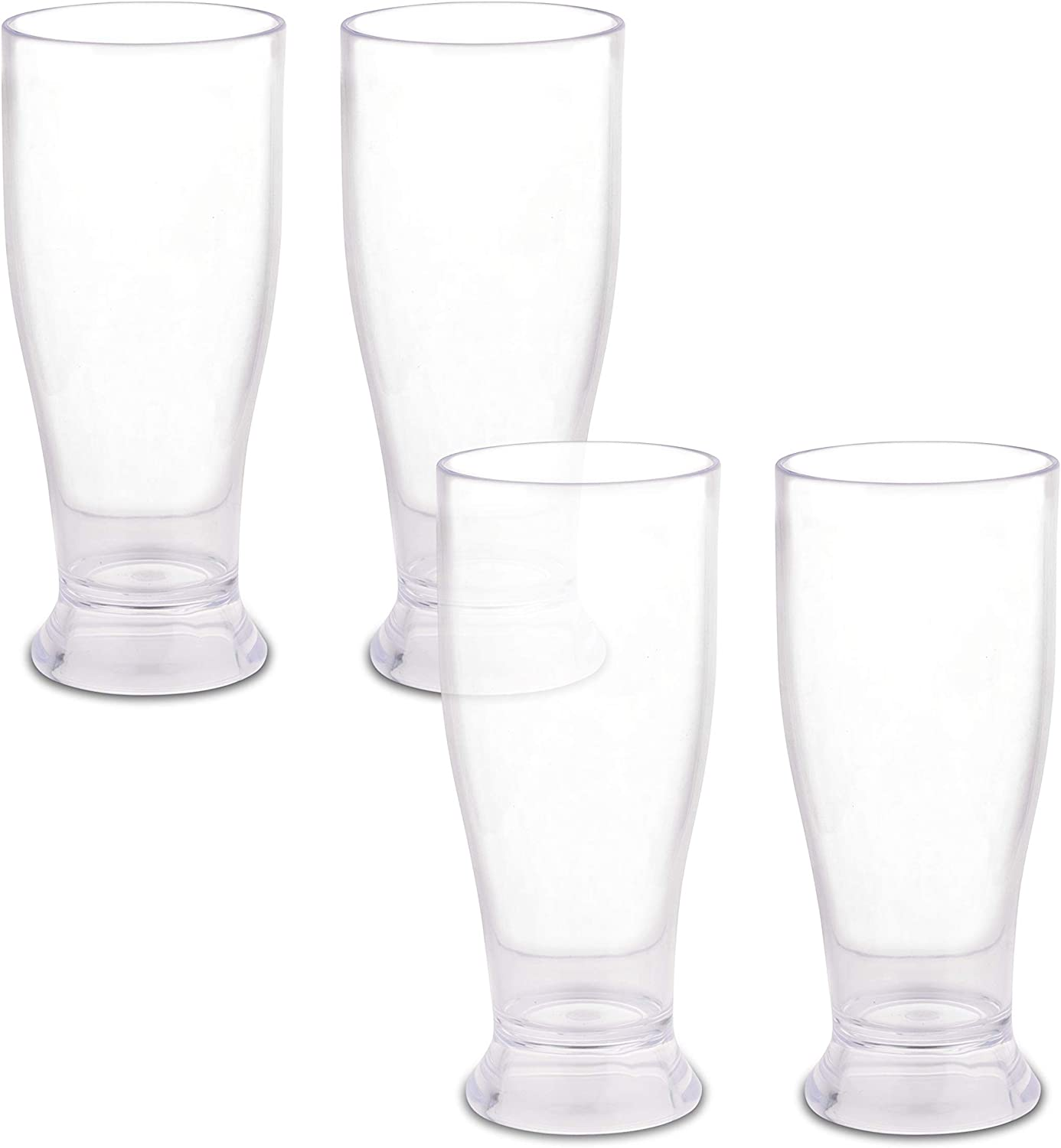 Homeries Plastic Drinking Glasses Tumbler 11-ounce (Set of 4) – Reusable Acrylic Clear & Break Resistant Beverage Drinkware Cups – BPA Free - Restaurant Quality Juice & Drink Cups