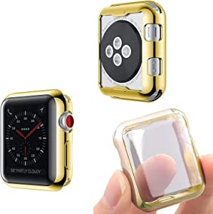 Josi Minea iWatch [44mm] Protective Snap-On Case with Built-in Screen Protector - Anti-Scratch & Shockproof Ultra Thin Cover HD Clear Shield Compatible with Apple Watch Series 5 & 4 [ 44mm - Gold ]