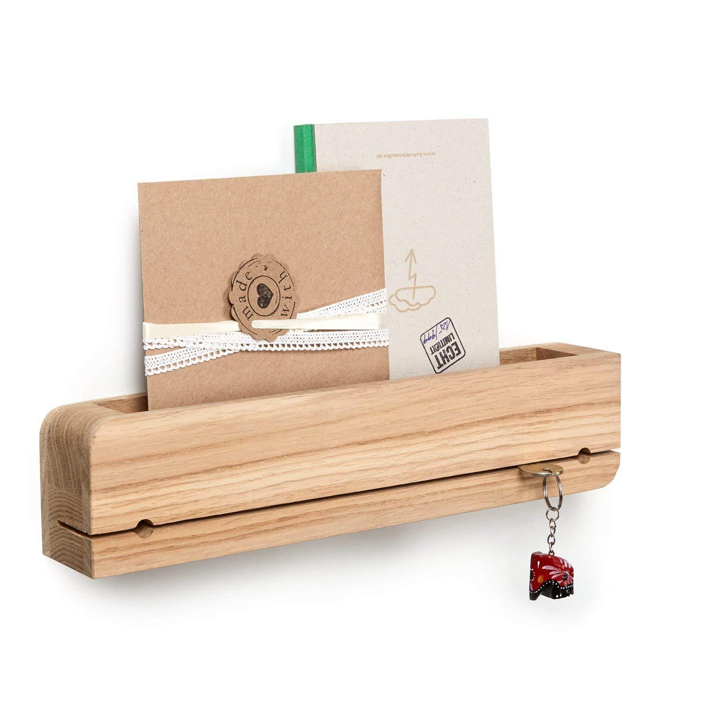 Natuhr portachiavi porta lettere in legno doorganizer da mensola di chiavi, lettere, smartphone (quercia non trattata)