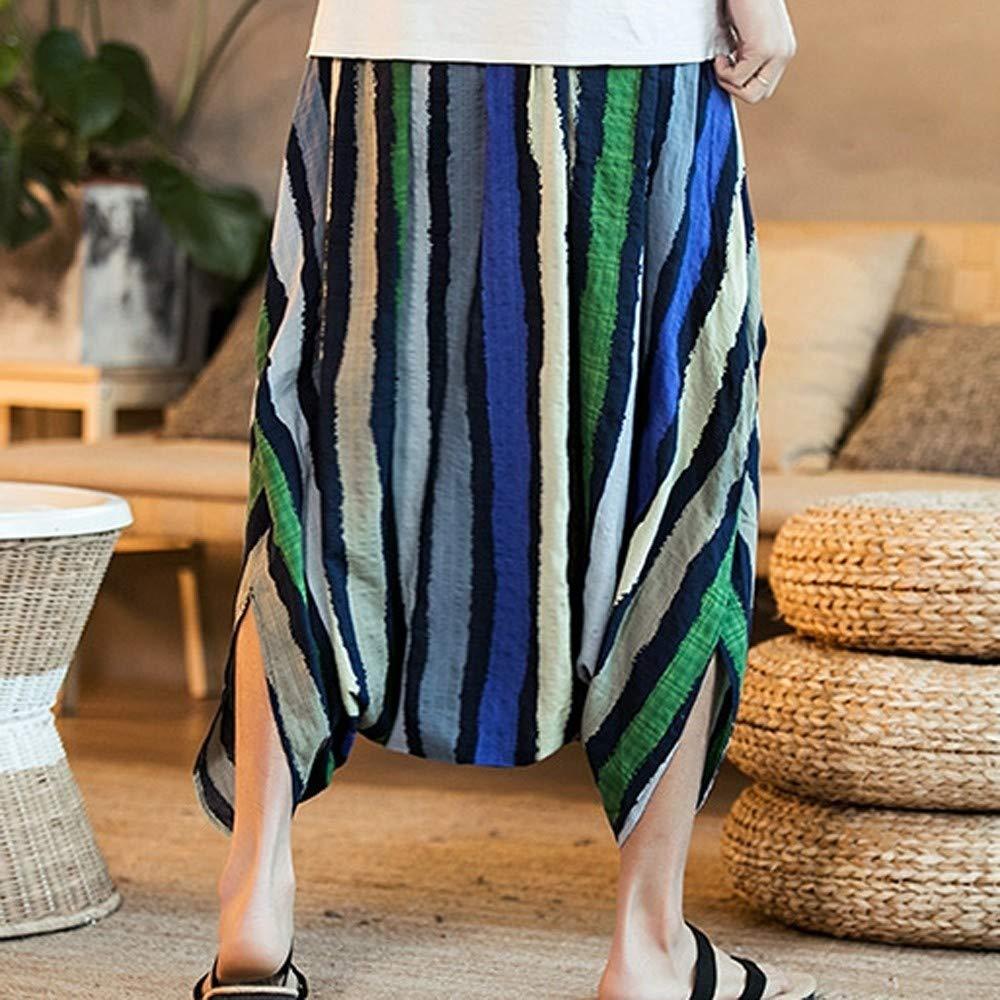 Mens Harem Pants Cotton Linen Festival Baggy Stripe Trousers Retro Gypsy Pants