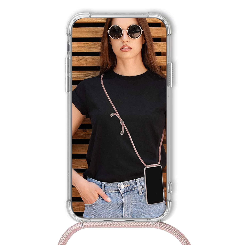 - Oro Rosa Ultrafina Suave TPU Carcasa de movil con Colgante Funda con Cuerda para Xiaomi Redmi Note 6 Pro Silicona Transparente Anti-rasgu/ños Anti-Choque Moda y Practico
