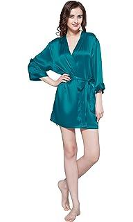 LILYSILK Robe de Chambre Femme Soie Naturelle Kimono Manches Longues  Peignoir Col V Peignoir de Bain 4bf521c09ae6