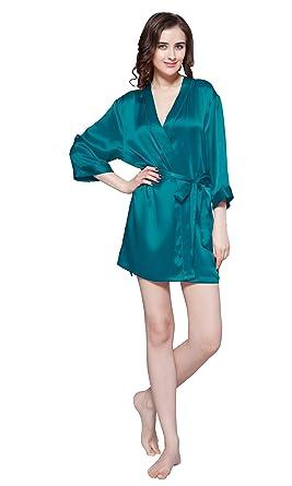 LILYSILK Robe de Chambre Femme Soie Naturelle Kimono Manches