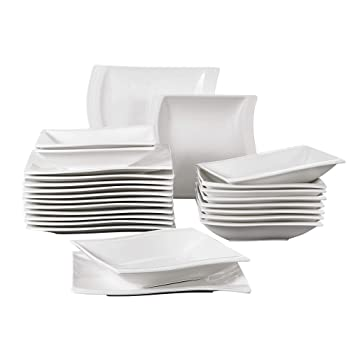 37f32ef313c780 MALACASA, Serie Flora, 24pcs Assiettes Porcelaine Céramique Service de Table  Set de Vaisselle 12pcs