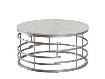 Super Homelegance Brassica 34 Round Faux Marble Coffee Table Silver Lamtechconsult Wood Chair Design Ideas Lamtechconsultcom