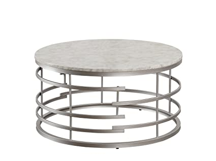 White Marble Coffee Table.Homelegance Brassica 34 Round Faux Marble Coffee Table Silver
