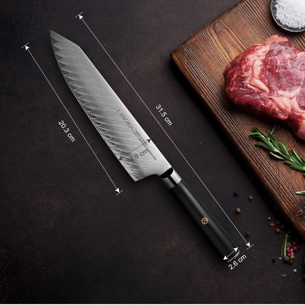 LANGRIA Cuchillo Japonés Profesional Hoja 20 cm de Acero al Carbono Damasco AUS-10V muy Afilado y Mango Equilibrado con Buen Agarre G-10 para ...