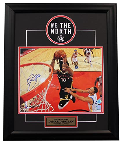 Demar Derozan Toronto Raptors Autographed Signature Netcam Dunk Over Curry  19x23 Frame - COA Included e2b722486