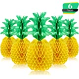 6 Pieces 14 Inch Pineapple Honeycomb Centerpieces Tissue Paper Pineapple Table Hanging Decorations for Tropical Luau Hawaiian