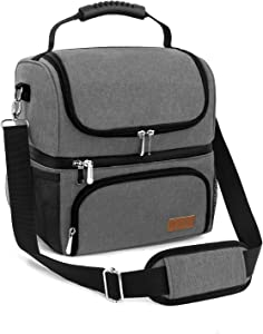 Lunch Bags for Women Men Work School 2 Compartments Large Reusable Cooler Bag Travel Portable Insulated Lunch Box Tote Bag , Grey (grey2)