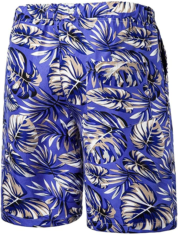 Suma-ma Plus Size Mens Printed Breathable Beach Shorts Quick Dry Surfing Running Swimming Sports Pants
