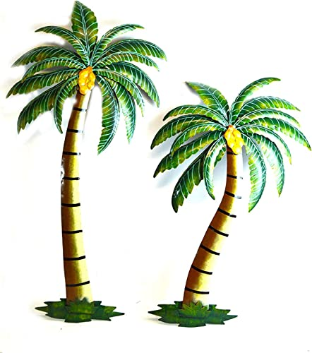WorldBazzar Beautiful 37 Metal Set of 2 Palm Tree with Coconuts Tropical Island Wall Art Scratch and DENT